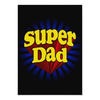 Papa superbe, super héros rouge/jaune/bleu carton d'invitation  12,7 cm x 17,78 cm