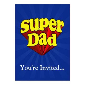 Papa superbe, super héros rouge/jaune/fête des carton d'invitation  12,7 cm x 17,78 cm