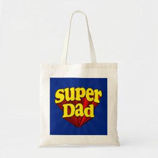 Papa superbe, super héros rouge/jaune/fête des sac en toile budget