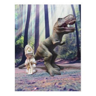 Pape minuscule et le Tyrannasaurus Rex Carte Postale