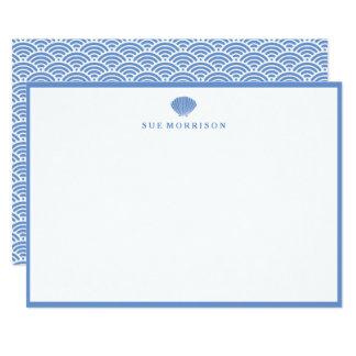 Papeterie 5x7 personnalisée par coquillage bleu carton d'invitation  12,7 cm x 17,78 cm