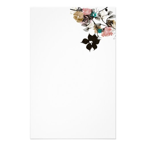 Papeterie abstraite de pivoines papier à lettre personnalisable
