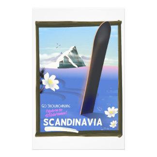 Papeterie Affiche de voyage de surf des neiges de la