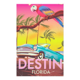 Papeterie Affiche vintage de voyage de Destin la Floride