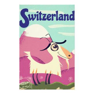 Papeterie Affiche vintage de voyage de style de la Suisse