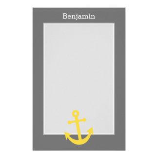 Papeterie Ancre jaune avec le nom fait sur commande - gris