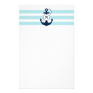 Papeterie Ancre nautique bleu-clair avec le monogramme