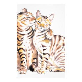 Papeterie Art d'aquarelle de deux chats du Bengale