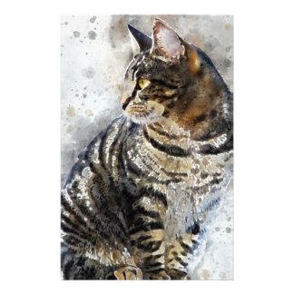 Papeterie Art mignon d'aquarelle de chat tigré