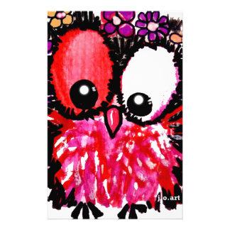 Papeterie Art rose de hibou de bébé