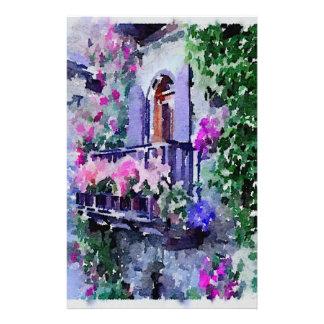 Papeterie beau, floral, balcon, Venise, Italie, peinture, W