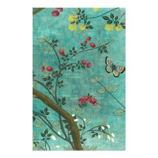 Papeterie Beaux papillons antiques vintages d'arbre de fleur