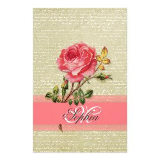 Papeterie Beaux roses girly élégants de cru de monogramme