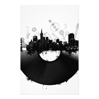 Papeterie blanc de vinyle d'horizon de ville de San