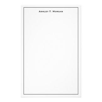 Papeterie Blanc superbe de noir de simplicité personnalisé