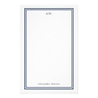 Papeterie Bleu marine décoré d'un monogramme