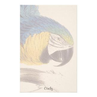 Papeterie bleue de faune d'oiseau de perroquet