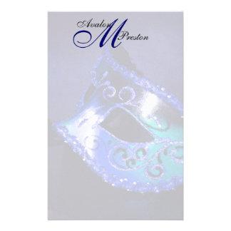 Papeterie bleue de mariage de mascarade de monogra