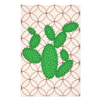 Papeterie Cactus - motif abstrait - brun et vert