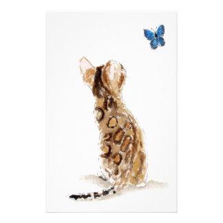 Papeterie Chat et papillon du Bengale