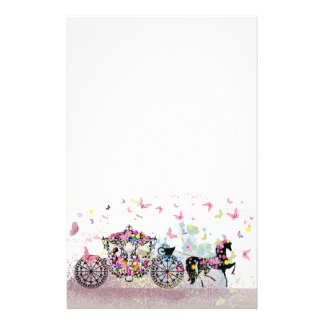 Papeterie Cheval et chariot de conte de fées avec des fleurs