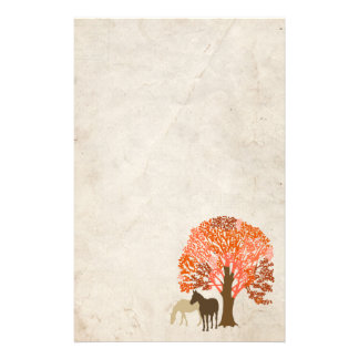 Papeterie Chevaux d'automne d'orange et de Brown