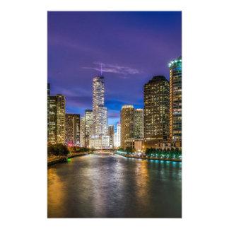 Papeterie Chicago l'Illinois la nuit