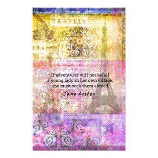 Papeterie Citation de Jane Austen au sujet d'aventure et de