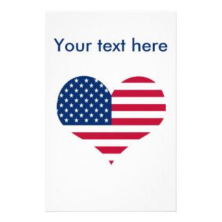 Papeterie Coeur américain des Etats-Unis de drapeau de