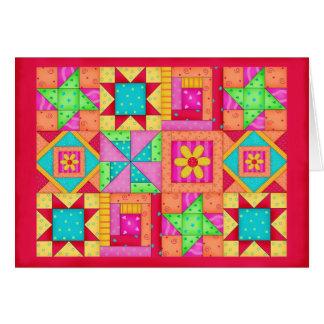 Papeterie colorée d'art d'édredon de patchwork cartes de vœux