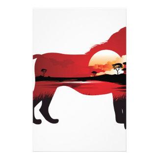Papeterie Coucher du soleil africain avec le lion 3