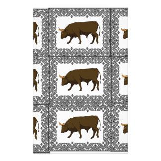 Papeterie cubes bruns en taureaux