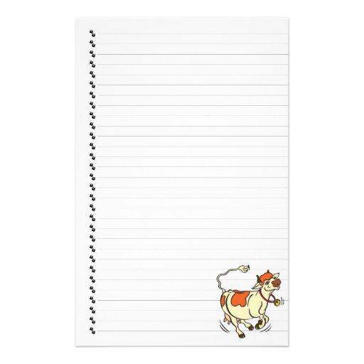 Papeterie d'animal familier rayée par vache drôle  papier à lettre personnalisé