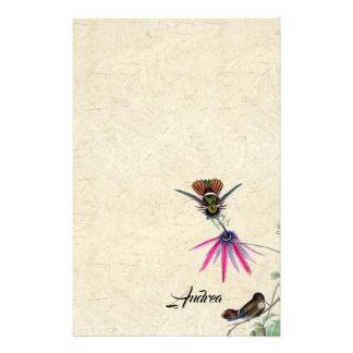 Papeterie de faune de fleurs d'oiseaux de colibri