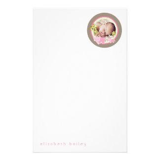 Papeterie de photo de bébé de famille d'éléphant