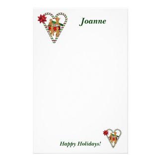 Papeterie de vacances de bonhommes en pain d'épice papier à lettre personnalisé