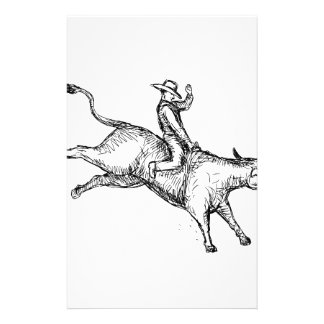Papeterie Dessin de cowboy de rodéo d'équitation de Taureau