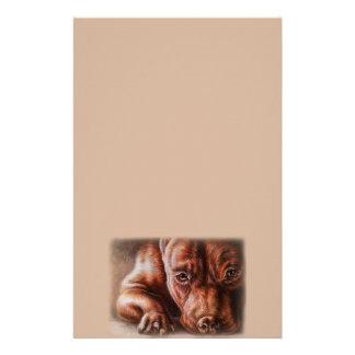 Papeterie Dessin de visage de pitbull de Brown de chien de