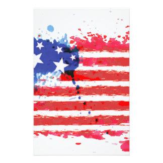 Papeterie drapeau américain grunge d'aquarelle