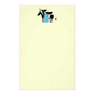Papeterie drôle de fête d'anniversaire de vache papier à lettre personnalisable