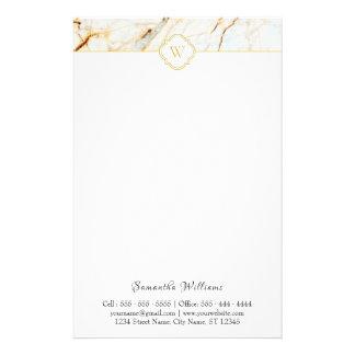 Papeterie élégante de marbre d'or blanc de