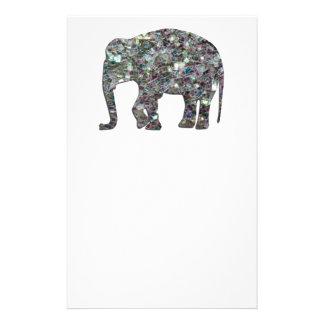 Papeterie Éléphant argenté coloré scintillant de mosaïque de