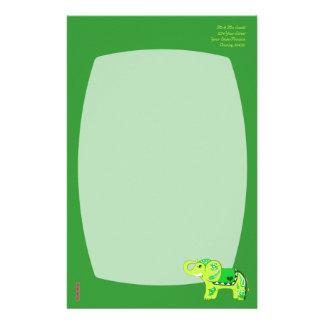 Papeterie Éléphant de henné (vert/vert de chaux)