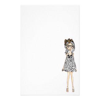 Papeterie Fille maladroite mignonne dans sa robe de point de