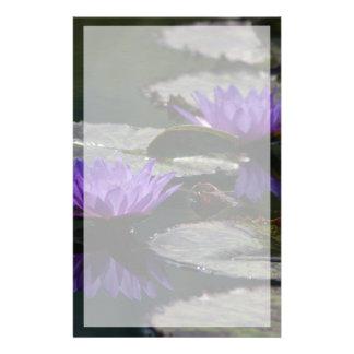 Papeterie Fleurs de nénuphar de Lotus bleu de cobalt