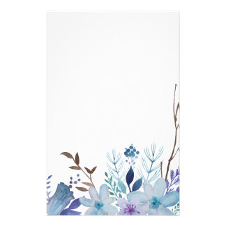Papeterie Fleurs et feuille bleus d'été
