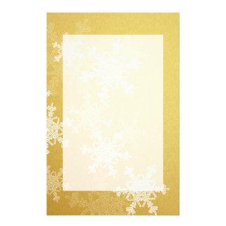Papeterie Flocons de neige Girly de Noël d'or et blanc