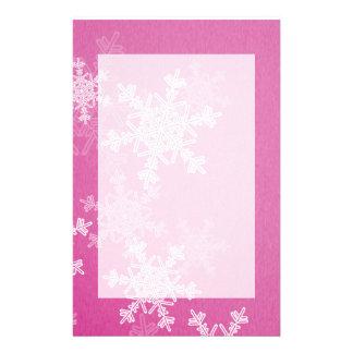 Papeterie Flocons de neige Girly de Noël rose et blanc