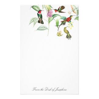Papeterie florale de faune d'oiseaux de colibri