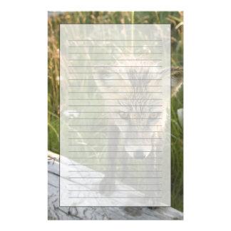 Papeterie Fox rouge, fulva de Vulpes sur le rondin, fleurs